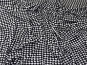 Dogtooth Print Stretch Ponte Roma Jersey Knit Dress Fabric  Black & White