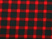 Plaid Check Brushed Stretch Cotton Twill Dress Fabric  Red & Black