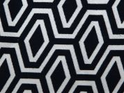 Geometric Brushed Stretch Cotton Twill Dress Fabric  Navy & White