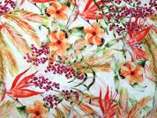 Floral Print Polyester Sateen Fabric  Multicoloured