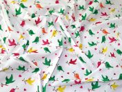 Birds Polycotton Fabric  Multicoloured