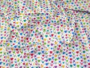 Heart Polycotton Fabric  Multicoloured