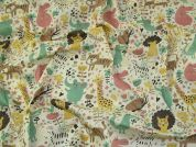 Animals Polycotton Fabric  Multicoloured