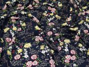 Floral Viscose Lawn Fabric  Navy
