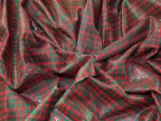 Check Metallic Cotton Fabric  Red & Green