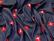 Embroidered Denim Fabric  Red on Blue