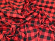 Check Brushed Cotton Fabric  Red & Black