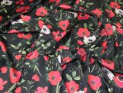 Silky Satin Fabric  Red on Black