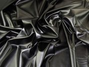 Soft Stretch Faux Leather Fabric  Black