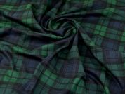 Brushed Cotton Flannel Fabric  Green & Navy