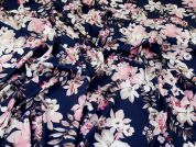 Stretch Smooth Crepe Fabric  Navy