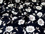 Stretch Cotton Sateen Fabric  Navy
