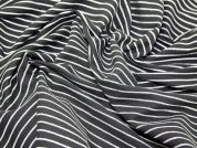 Cairo Woven Stripe Heavy Cotton & Linen Dress Fabric  Black & White