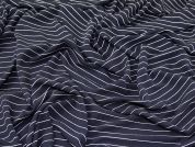 Stripey Textured Stretch Jersey Dress Fabric  Navy Blue