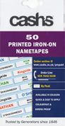 Cash Printed Iron On Personalised Nametapes