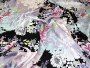 John Kaldor Floral Print Slinky Satin Dress Fabric  Multicoloured