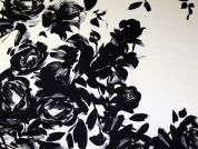 John Kaldor Large Floral Border Print Slinky Satin Dress Fabric