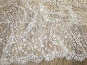 Caterina Embroidered & Beaded Couture Bridal Lace Fabric  Ivory