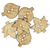 Leaf Wood Buttons  Beige