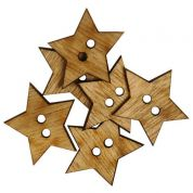 Star Wood Buttons  Beige