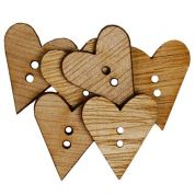 Heart Wood Buttons  Beige