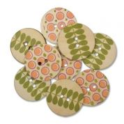 Round Wood Buttons  Green & Orange