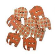 Elephant Wood Buttons  Orange