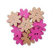 Flower Wood Buttons  Pink