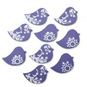 Bird Wood Buttons  Blue