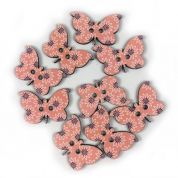 Butterfly Wood Buttons  Pink