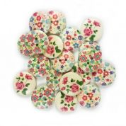 Round Wood Buttons  Multicoloured