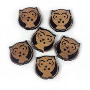 Owl Wood Buttons  Beige