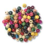 Impex Round Wood Craft Beads  Assorted Colours