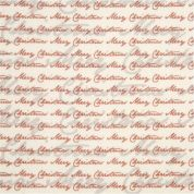 Merry Christmas Print Polyester Felt Fabric Mini Roll  Red & Cream