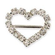 Heart Diamante Buckle  Silver