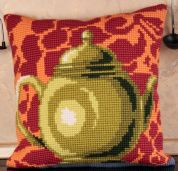 Collection dArt Cross Stitch Cushion Kit Bronze Teapot