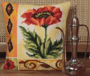 Collection dArt Cross Stitch Cushion Kit Valiant Poppy