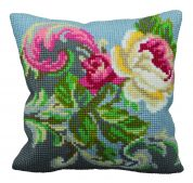 Collection dArt Cross Stitch Cushion Kit Antique Rose Left