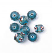Craft Factory Fancy Glass Lamp Beads  Ice Blue