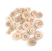 Craft Factory Assorted Size Wood Craft Buttons  Natural