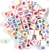 Craft Factory Square Plastic Alphabet Letter Craft Beads  Assorted Colours