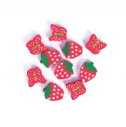 Craft Factory Wood Strawberry & Butterfly Shape Craft Beads  Red