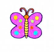 Craft Factory Iron or Sew On Fabric Motif Applique Spotty Butterfly