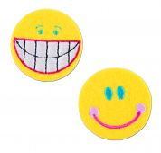 Craft Factory Iron or Sew On Fabric Motif Applique Smiley Faces
