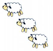 Craft Factory Iron or Sew On Fabric Motif Applique Three Sheep