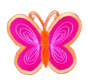 Craft Factory Iron or Sew On Fabric Motif Applique Pink/Yellow Butterfly
