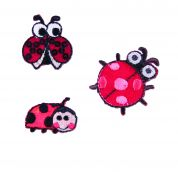 Craft Factory Iron or Sew On Fabric Motif Applique Three Ladybirds
