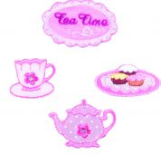Craft Factory Iron or Sew On Fabric Motif Applique Teatime