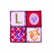 Craft Factory Iron or Sew On Fabric Motif Applique Quilted 'Love'