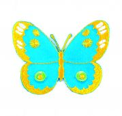 Craft Factory Iron or Sew On Fabric Motif Applique Blue & Yellow Butterfly